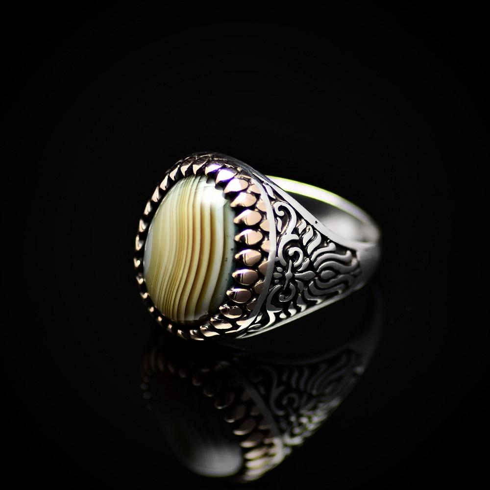 Artisanal Silver Ring Adorned With Green Striped Agate Stone Right