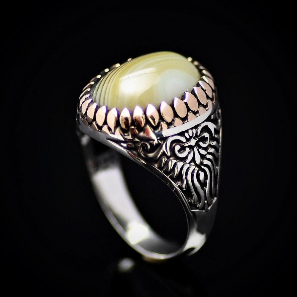 Artisanal Silver Ring Adorned With Green Striped Agate Stone