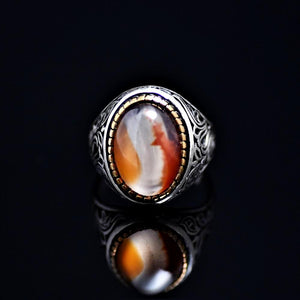 Attention Getting Silver Ring Adorned With Agate Stone Front