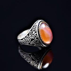 Attention Getting Silver Ring Adorned With Agate Stone Left