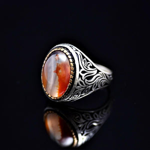 Attention Getting Silver Ring Adorned With Agate Stone Right