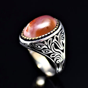 Attention Getting Silver Ring Adorned With Agate Stone