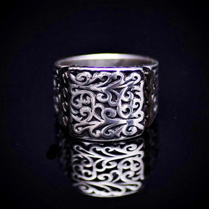 Authentic Turkish Men's Silver Ring With Engraved Figures Front