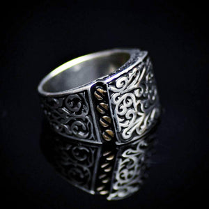 Authentic Turkish Men's Silver Ring With Engraved Figures Left