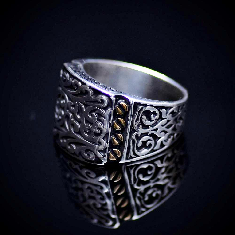 Authentic Turkish Men's Silver Ring With Engraved Figures Right