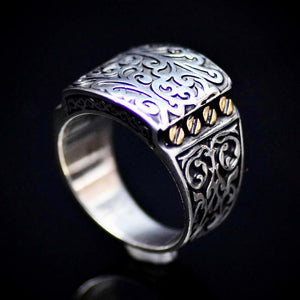 Authentic Turkish Men's Silver Ring With Engraved Figures