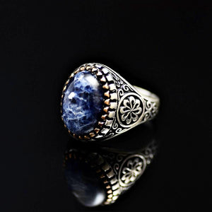 Beautiful Ring Adorned With Natural Stone And Engraved Flower Motifs Right