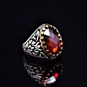 Beautiful Sterling Silver Ring Adorned With Garnet Stone Left