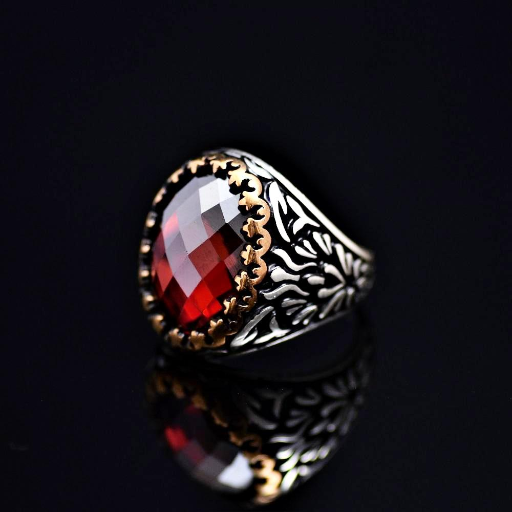 Beautiful Sterling Silver Ring Adorned With Garnet Stone Right