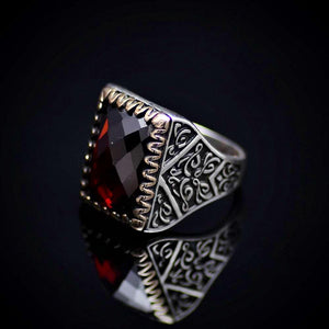 Beautiful Turkish Silver Ring Embellished With Garnet Stone Right