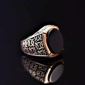 Black Onyx Stone Silver Ring Adorned With Engraved Geometrical Shapes Left