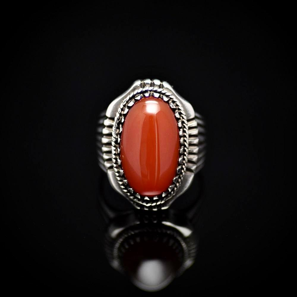 Bohemian Style Silver Ring Adorned With Red Agate Stone Front