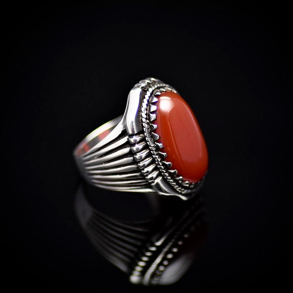 Bohemian Style Silver Ring Adorned With Red Agate Stone Left