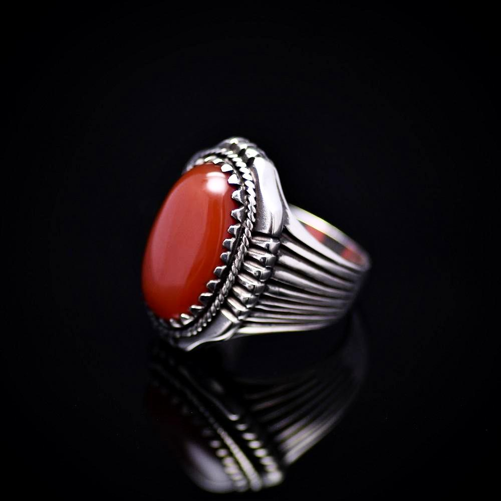 Bohemian Style Silver Ring Adorned With Red Agate Stone Right