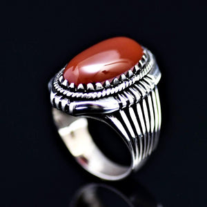 Bohemian Style Silver Ring Adorned With Red Agate Stone