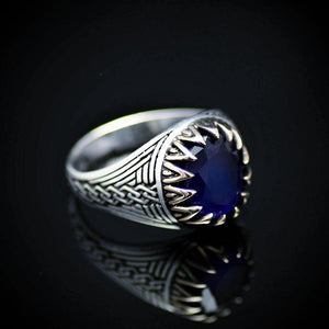 Chain Engraved Silver Ring Adorned With Lab Created Sapphire Left