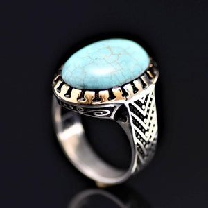 Charming Silver Ring Adorned With Turquoise Stone