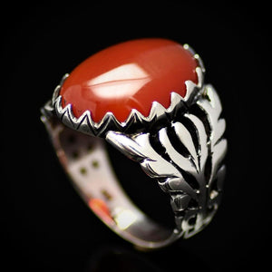 Charming Silver Ring For Men Adorned With Red Agate Stone