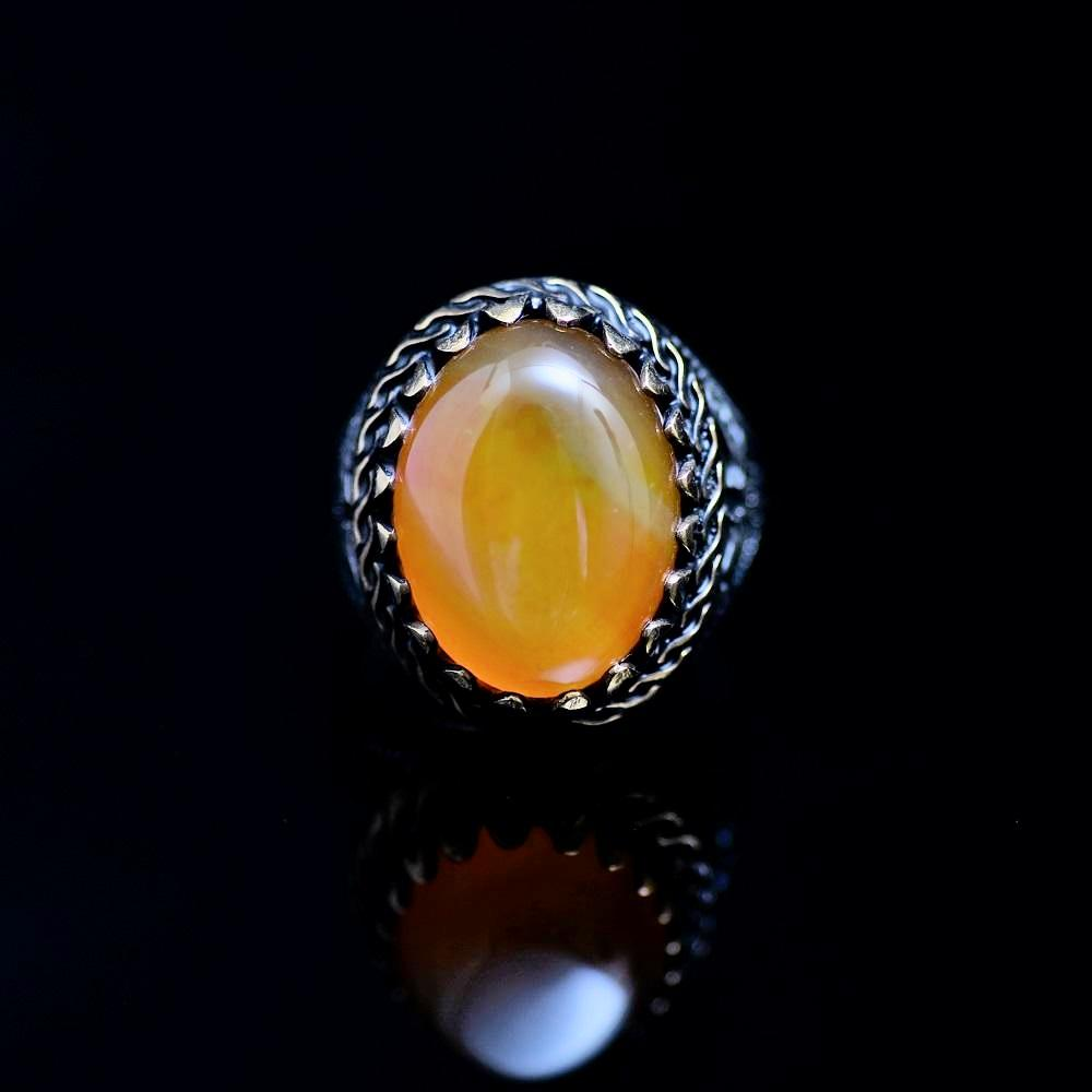 Classy Silver Ring Adorned With Orange Color Agate Stone Front