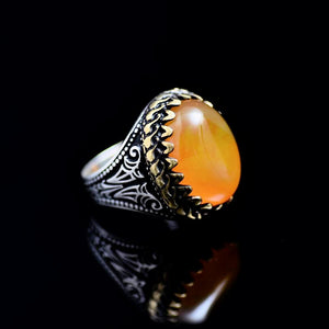Classy Silver Ring Adorned With Orange Color Agate Stone Left