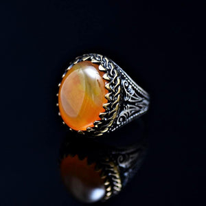 Classy Silver Ring Adorned With Orange Color Agate Stone Right