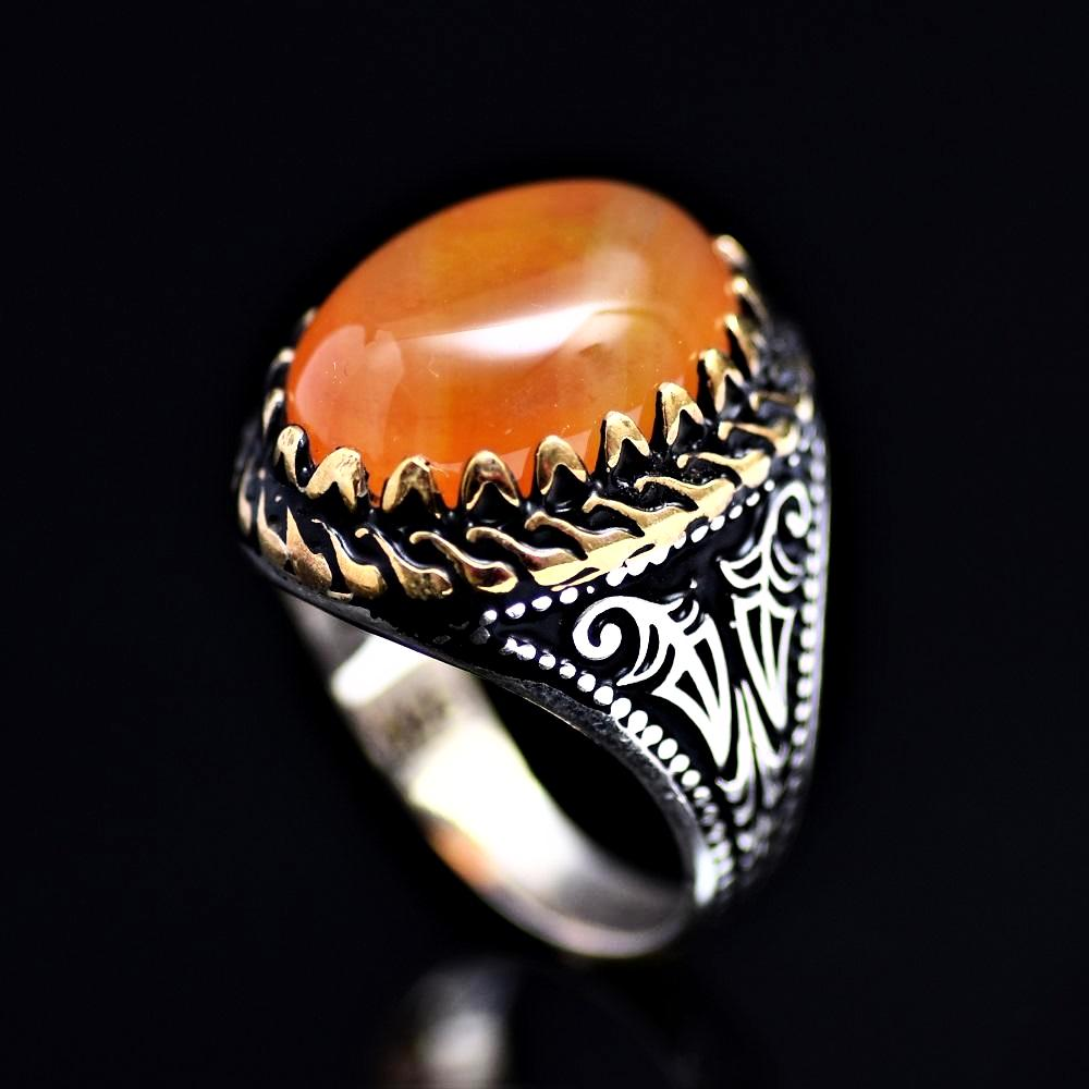 Classy Silver Ring Adorned With Orange Color Agate Stone