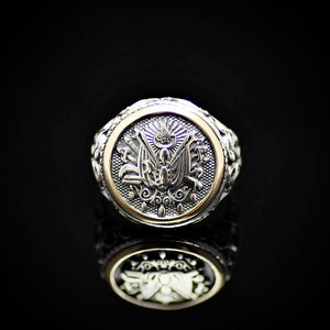 Coat Of Arms Of Ottoman Empire Engraved 925 Sterling Silver Ring Front