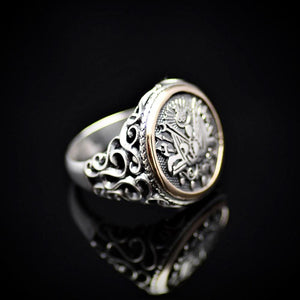 Coat Of Arms Of Ottoman Empire Engraved 925 Sterling Silver Ring Left
