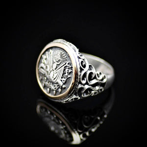 Coat Of Arms Of Ottoman Empire Engraved 925 Sterling Silver Ring Right