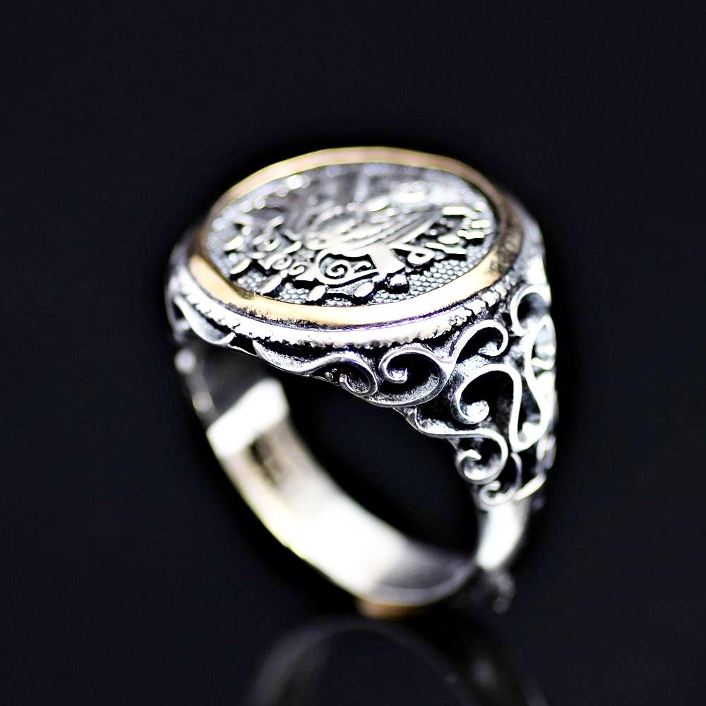 Coat Of Arms Of Ottoman Empire Engraved 925 Sterling Silver Ring