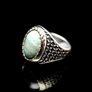Distinctive Silver Ring Adorned With A Natural Stone Right