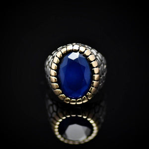 Distinctive Silver Ring For Men Adorned With Lab-created Sapphire Stone Front