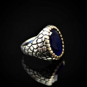 Distinctive Silver Ring For Men Adorned With Lab-created Sapphire Stone Left