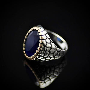 Distinctive Silver Ring For Men Adorned With Lab-created Sapphire Stone Right