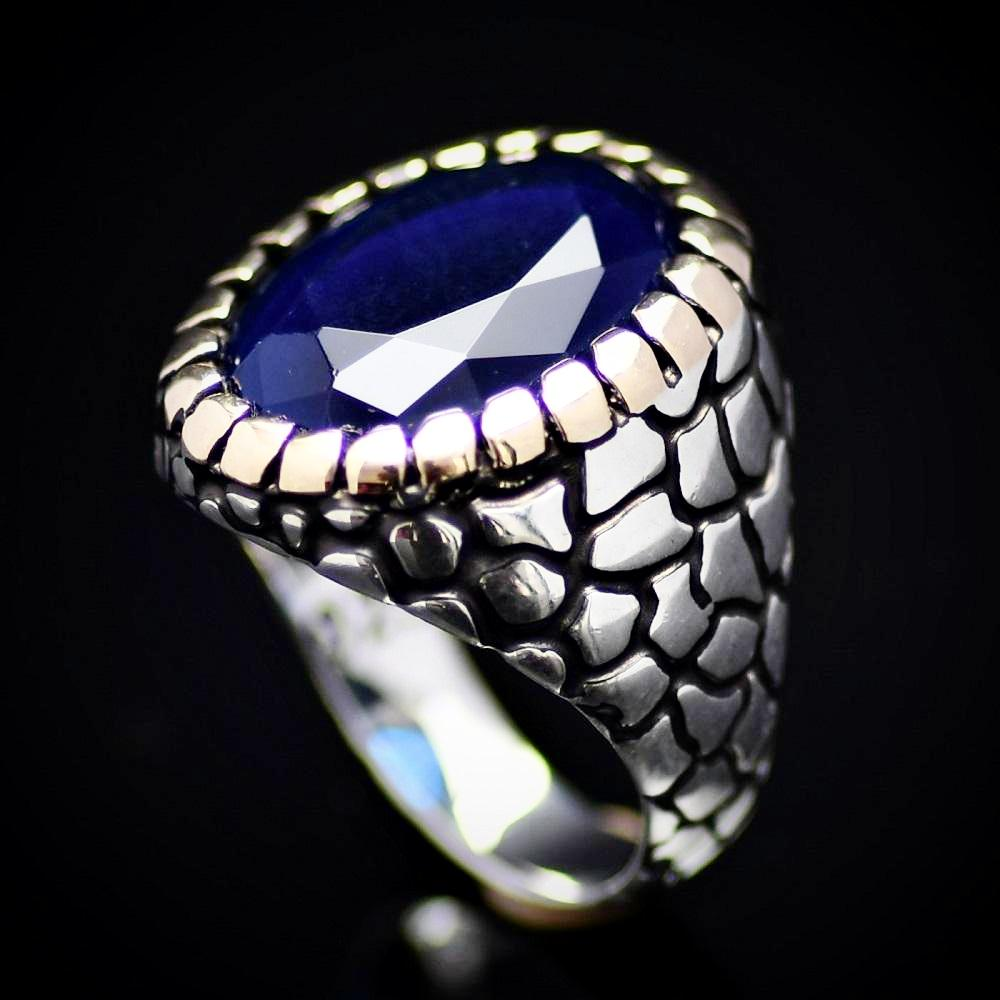 Distinctive Silver Ring For Men Adorned With Lab-created Sapphire Stone