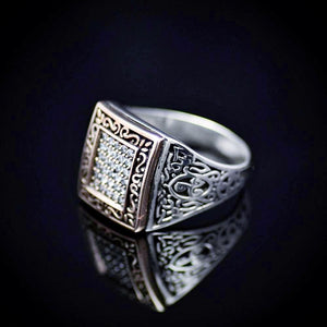 Elegant Silver Ring With Zirconia Stones Right