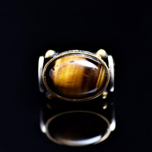 Elegant Sterling Silver Ring Adorned With Tiger Eye Stone Front
