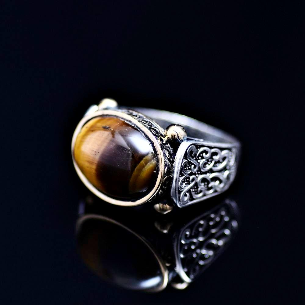 Elegant Sterling Silver Ring Adorned With Tiger Eye Stone Right