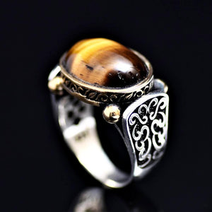 Elegant Sterling Silver Ring Adorned With Tiger Eye Stone