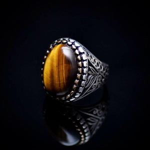 Engraved Silver Ring Adorned With A Tiger's Eye Stone Right