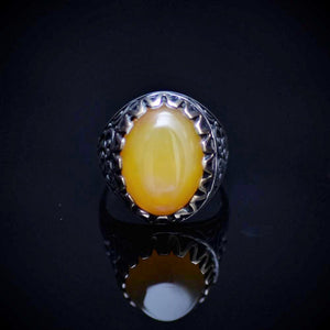 Engraved Silver Ring For Men Adorned With Honey Agate Stone Front