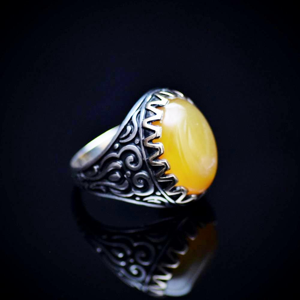 Engraved Silver Ring For Men Adorned With Honey Agate Stone Left