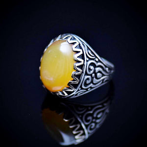 Engraved Silver Ring For Men Adorned With Honey Agate Stone Right