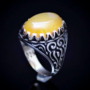 Engraved Silver Ring For Men Adorned With Honey Agate Stone