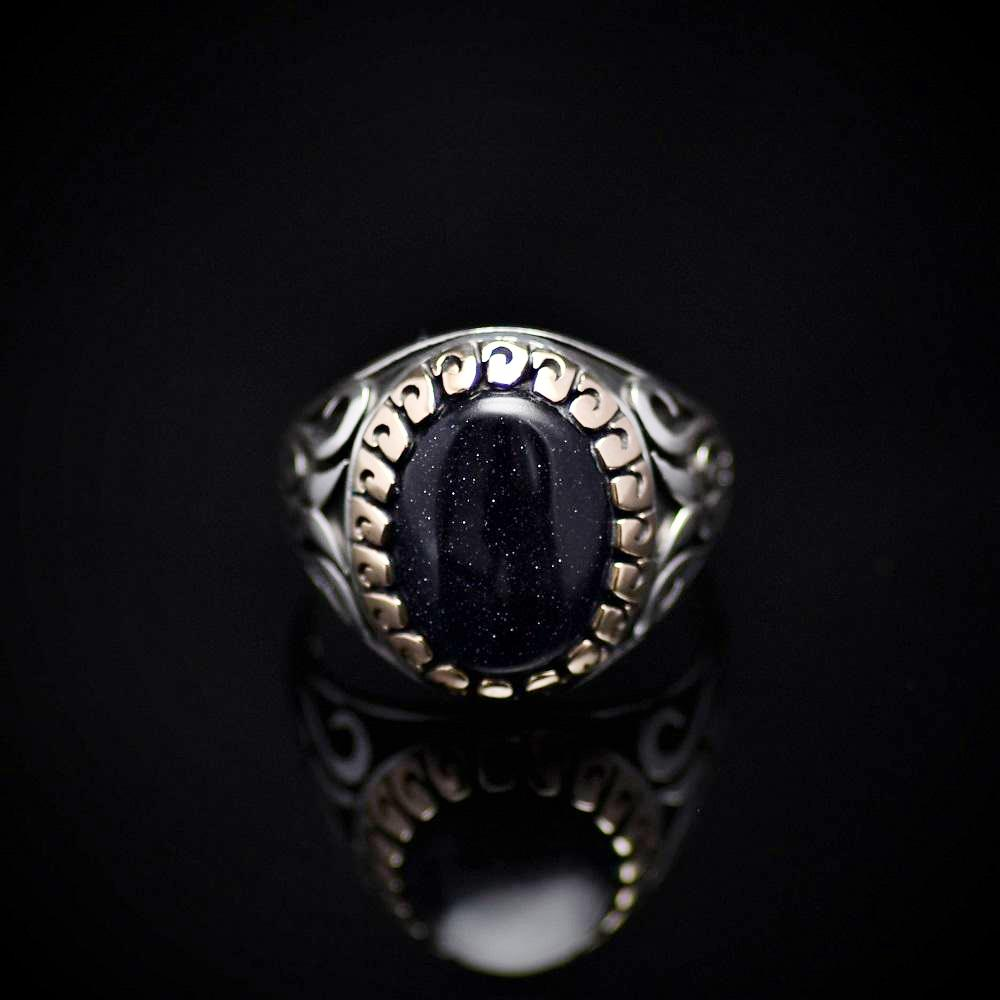 Exceptional Ring Made Of Sterling Silver And Blue Sandstone Front