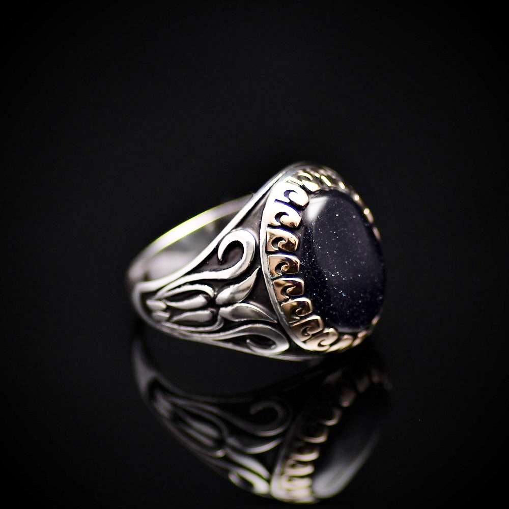 Exceptional Ring Made Of Sterling Silver And Blue Sandstone Left
