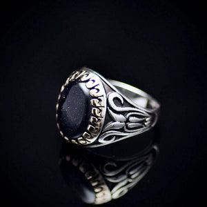 Exceptional Ring Made Of Sterling Silver And Blue Sandstone Right
