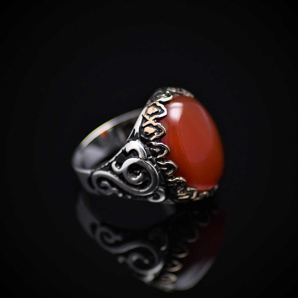 Exceptional Silver Ring Embellished With Carnelian Stone Left