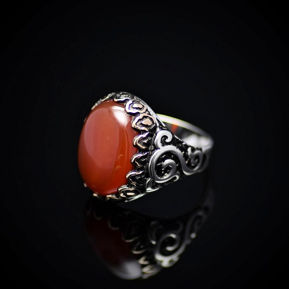 Exceptional Silver Ring Embellished With Carnelian Stone Right