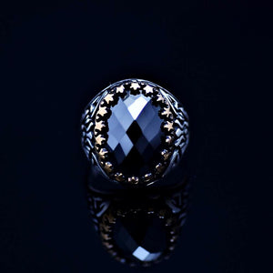 Exciting Silver Ring Adorned With Facet Cut Black Onyx Stone Front